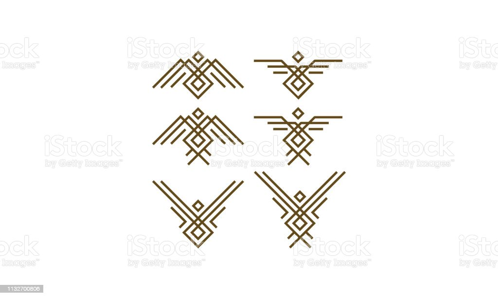 line art bird geometric logo icon vector