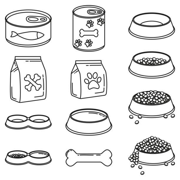 ilustrações de stock, clip art, desenhos animados e ícones de line art black and white 12 pet food elements - lata comida gato