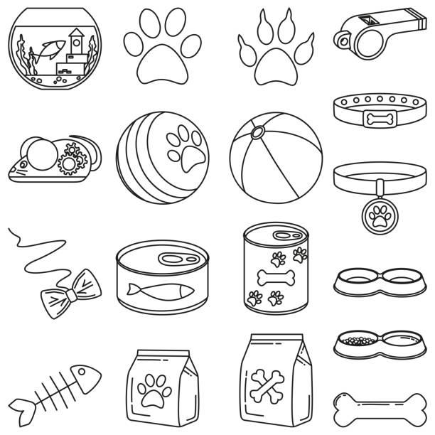 ilustrações de stock, clip art, desenhos animados e ícones de line art black and white 18 pet shop elements - dog food