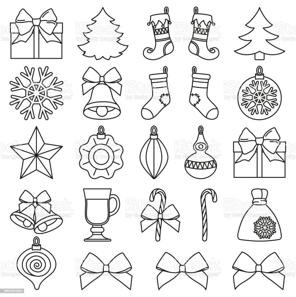 Dessin Au Trait Noir Et Blanc 25 éléments De Noël La Valeur