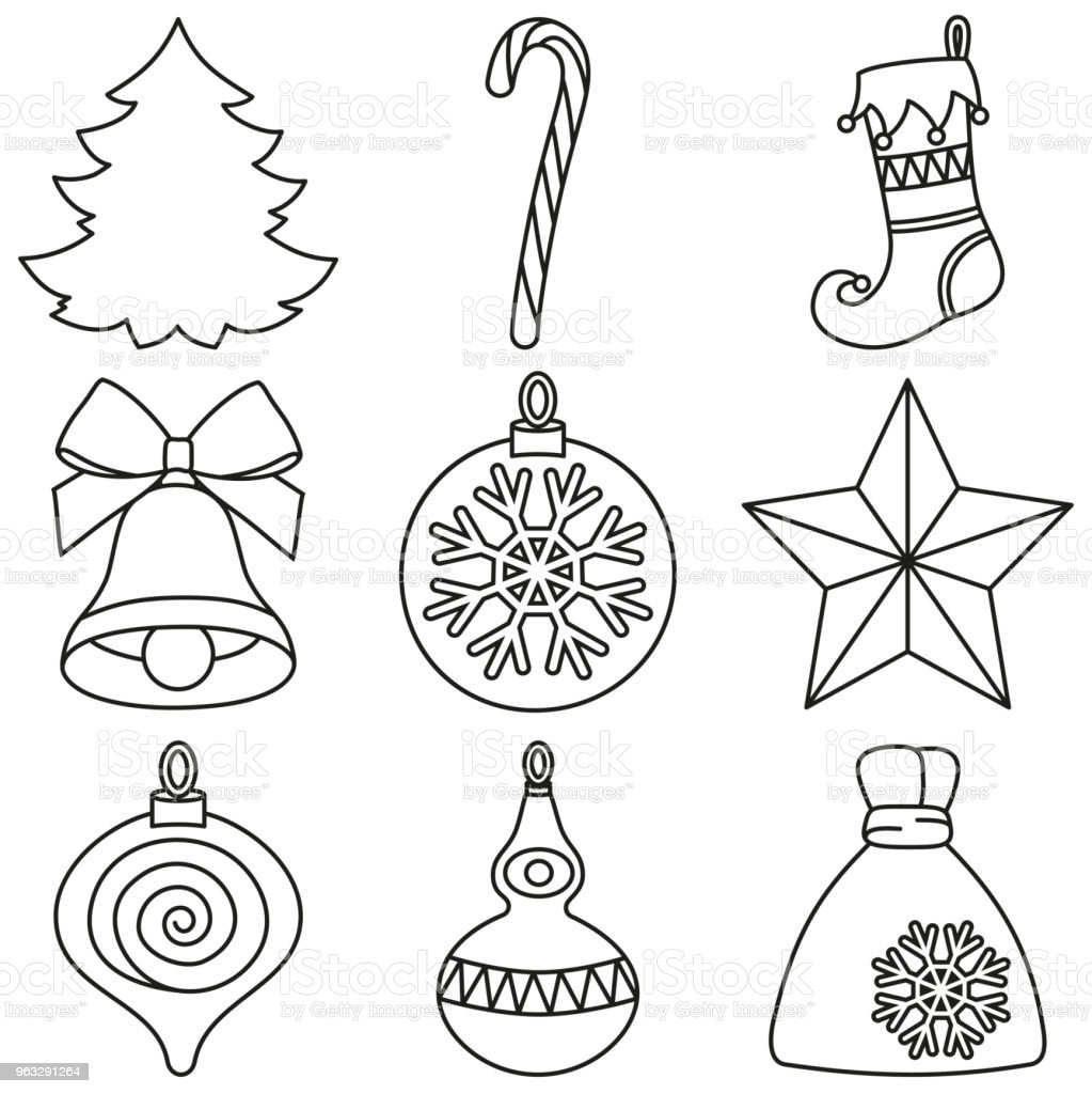 Weihnachten Schwarz Weiß Bilder.Strichzeichnungen Schwarzweiß 9 Weihnachten Elemente Festlegen Stock