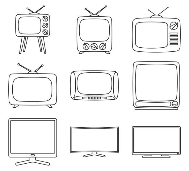 line art black and white 9 element tv set - телевизионная индустрия stock illustrations