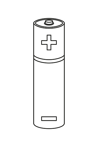 Line Art Black And White Aa Type Battery Stock
