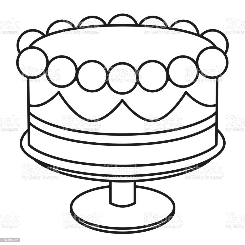 Line Art Black And White Birthday Cake On Stand Stock Vector Art