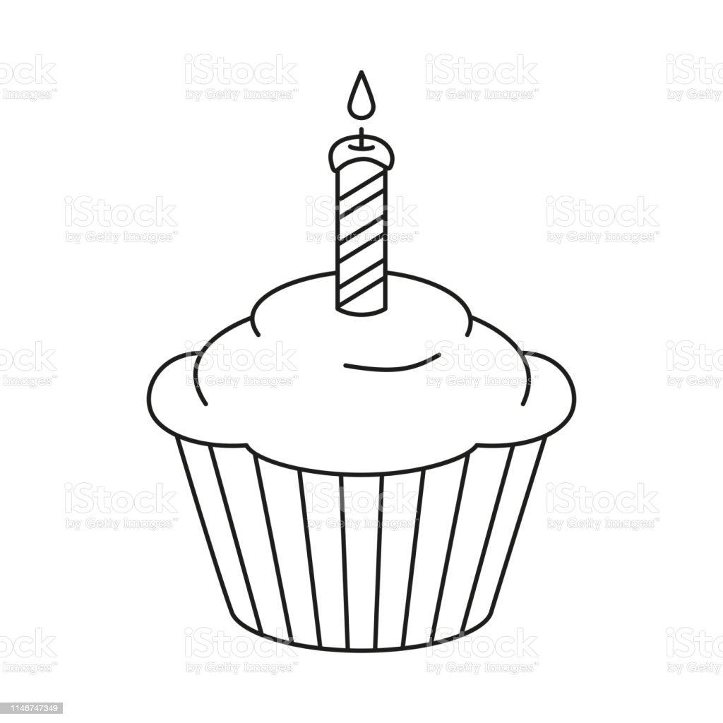 line art black and white birthday cupcake stock