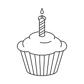 Line art black and white birthday cupcake, burning candle on top. Holiday party themed vector illustration for icon, stamp, label, certificate, brochure, gift card, poster, coupon or banner decoration