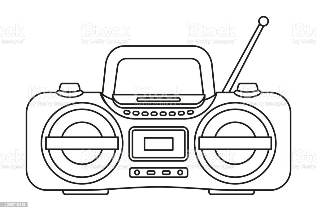 line-art-black-and-white-boombox-vector-id1066715418