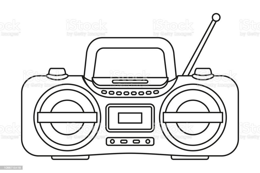 Line art black and white boombox vector art illustration