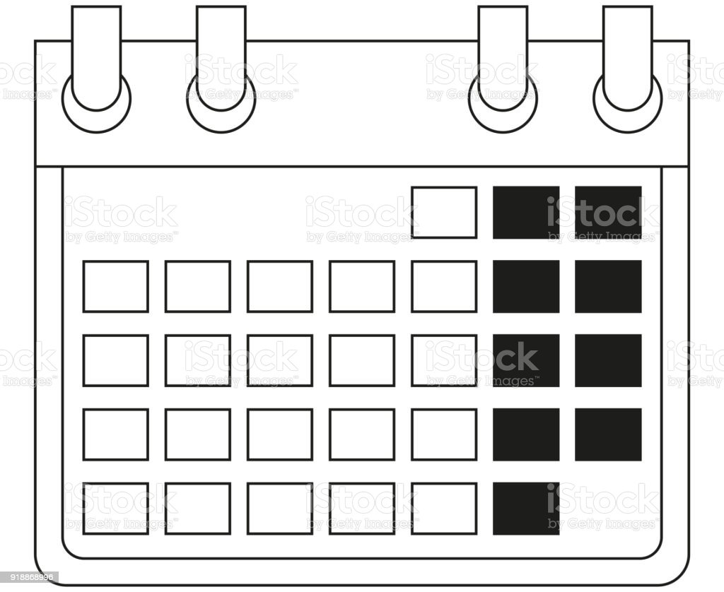 Calendario En Blanco.Ilustracion De Icono De Calendario Blanco Y Negro De Arte De Linea Y