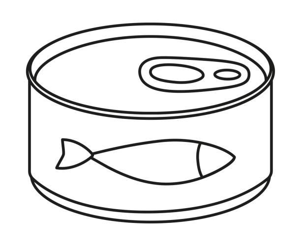 ilustrações de stock, clip art, desenhos animados e ícones de line art black and white canned fish - lata comida gato