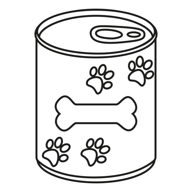 ilustrações de stock, clip art, desenhos animados e ícones de line art black and white canned pet food - lata comida gato