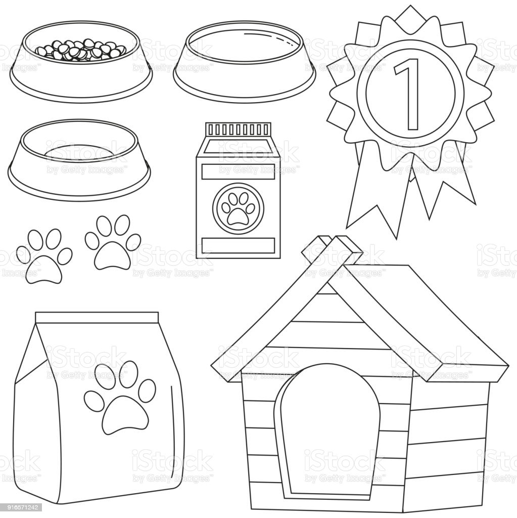 Line Art Black And White Cat Pet Care Icon Set Royalty Free