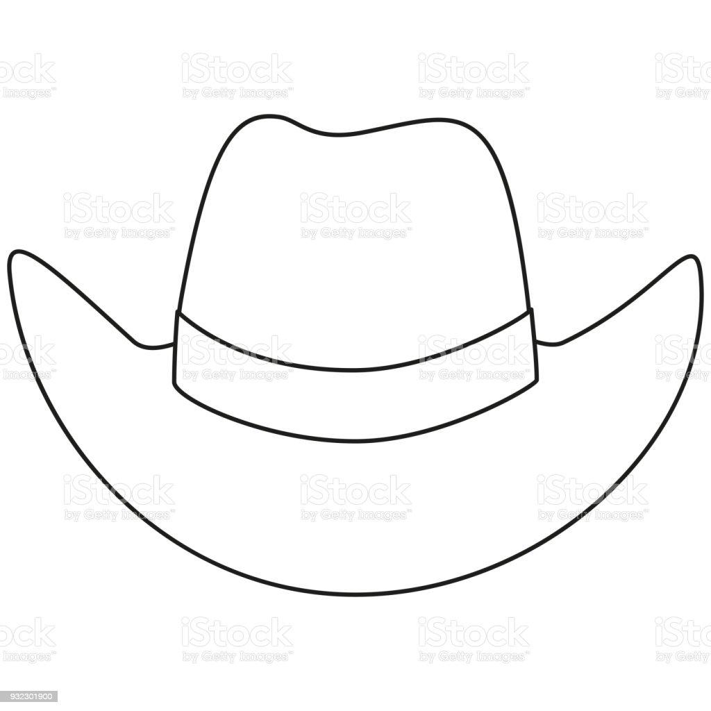 Línea arte blanco y negro sombrero de vaquero ilustración de línea arte  blanco y negro sombrero 52cb42edb0a