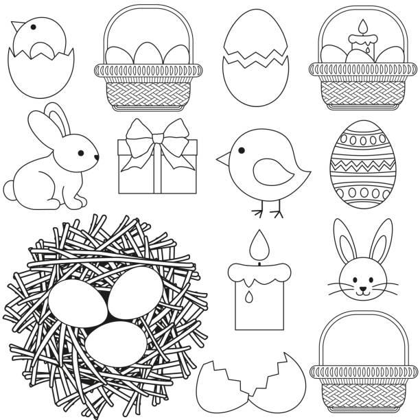 stockillustraties, clipart, cartoons en iconen met lijn pictogrammenset kunst zwart en wit pasen 13 elementen. - chicken bird in box