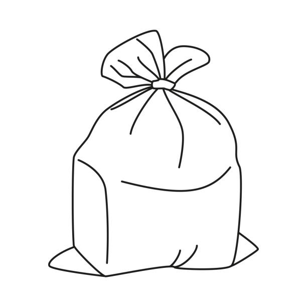 ilustraciones, imágenes clip art, dibujos animados e iconos de stock de línea arte blanco y negro completo bolsa - leftovers