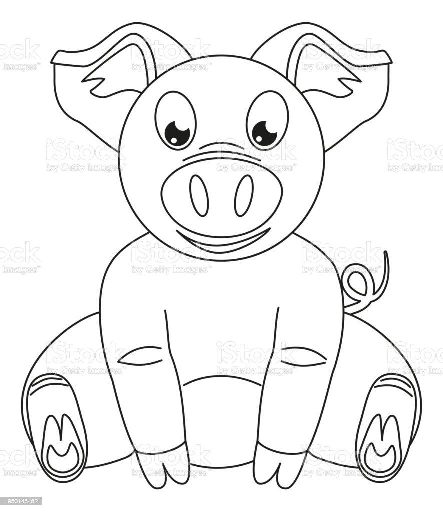 Linie Kunst Schwarzweiß Glücklich Sitzen Schwein Stock Vektor Art ...