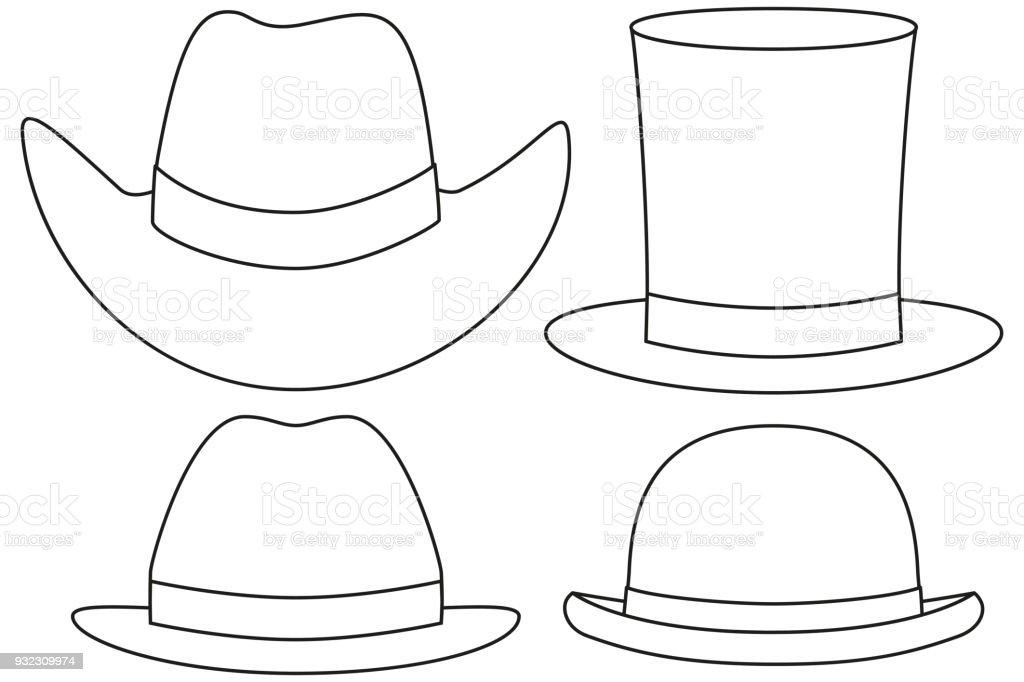 Sombrero de arte blanco y negro la línea set 4 elemento ilustración de  sombrero de arte cdb1e12bda0