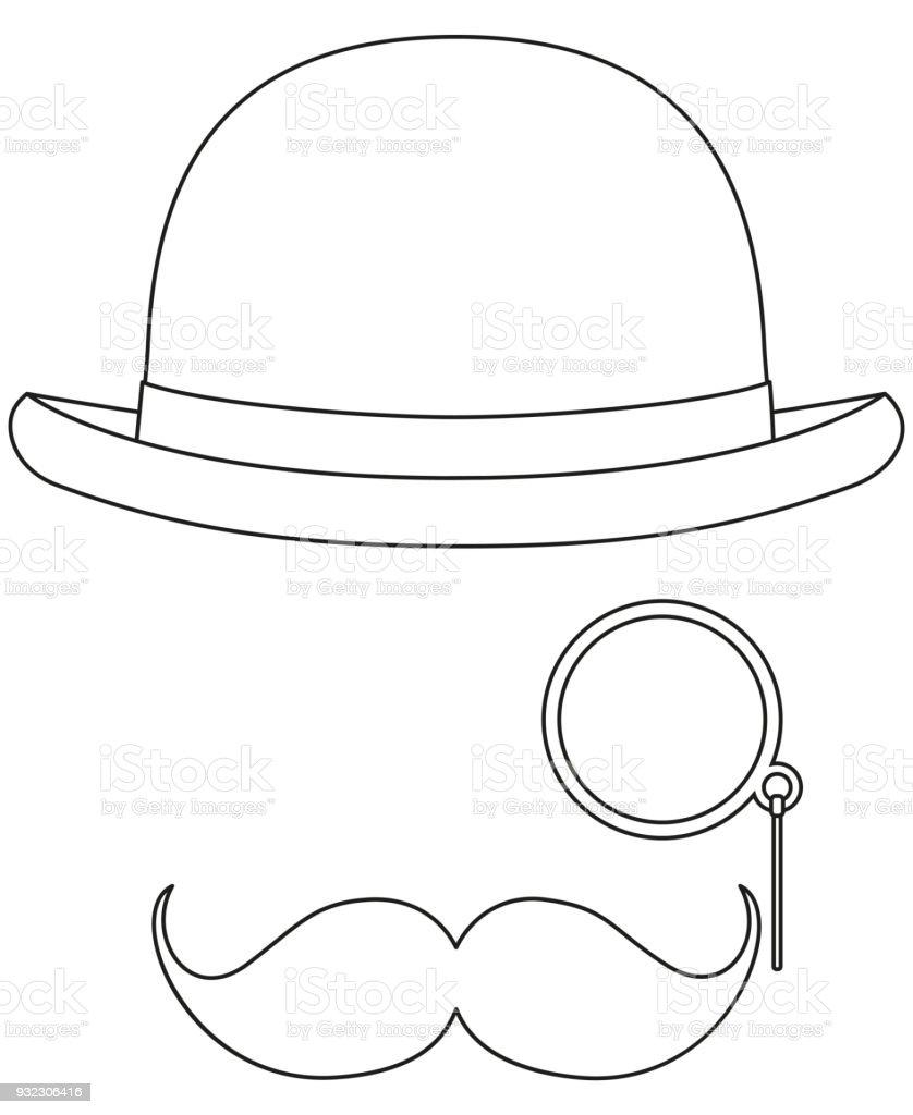 Elementos de avatar arte hipster blanco y negro de la línea ilustración de  elementos de avatar 2b1410465ae