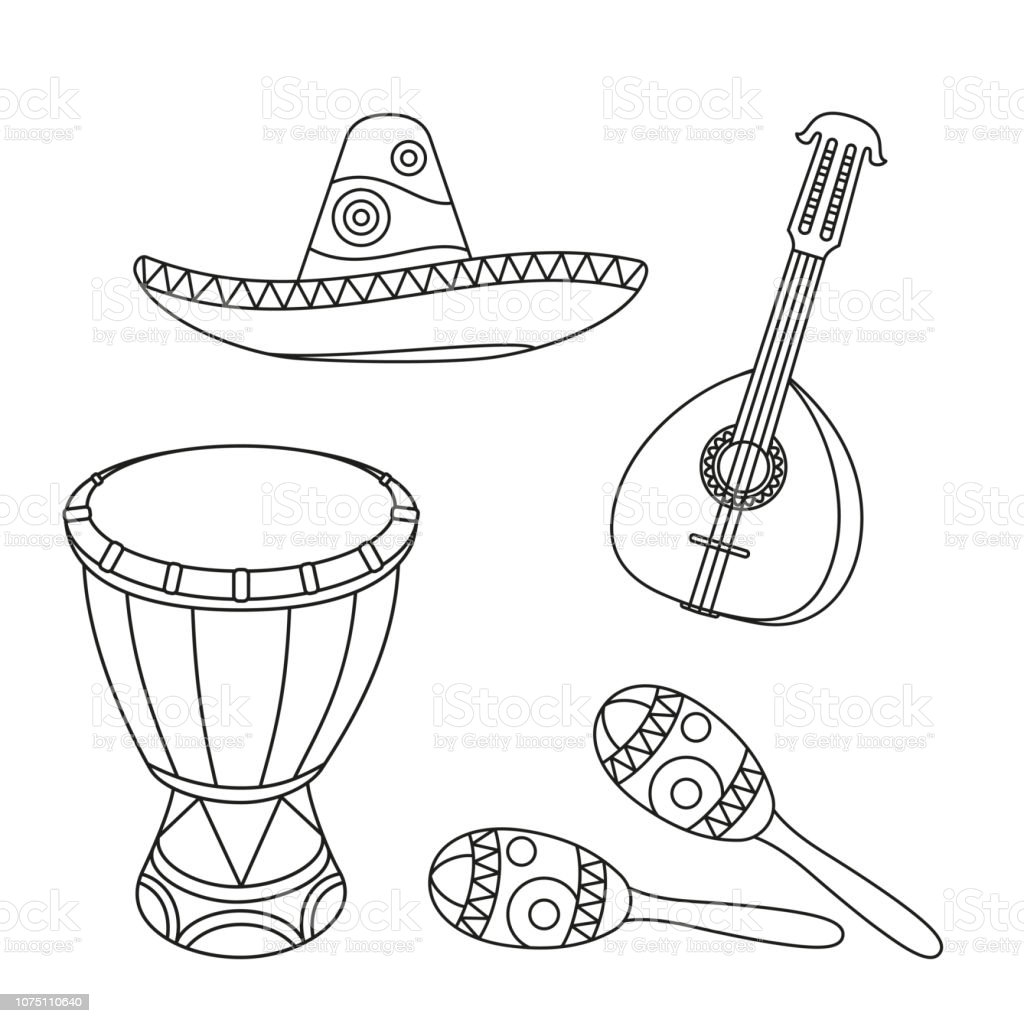 Line Art Black And White Mexican Music Set Stock