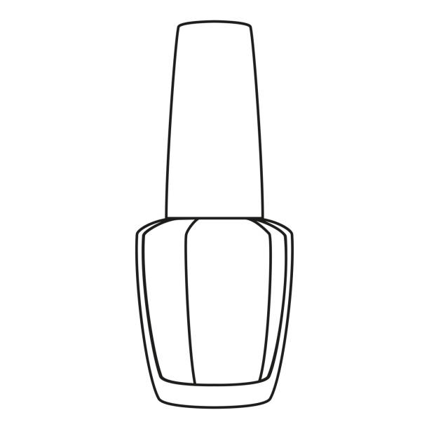Line art black and white nail polish Line art black and white nail polish. Hand hygiene solution. Beauty manicure themed vector illustration for icon, logo, stamp, label, sticker, badge, gift card, certificate or flayer decoration white nail polish stock illustrations