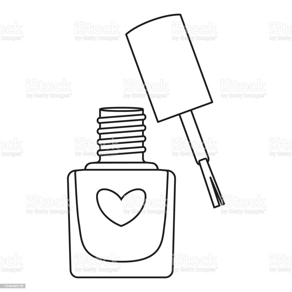 Line Art Black And White Open Nail Polish Bottle Stock ...
