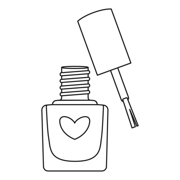 Line art black and white open nail polish bottle Line art black and white open nail polish bottle. Hand hygiene solution. Beauty manicure themed vector illustration for icon, logo, stamp, label, sticker, badge, gift card or certificate decoration white nail polish stock illustrations