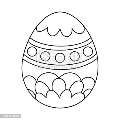 istock Line art black and white painted easter egg 1136808926