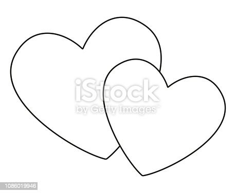 Line art black and white pair of loving hearts. Happy marriage symbol. St. Valentine day themed vector illustration for icon, stamp, label, badge, certificate, gift card, poster or banner decoration