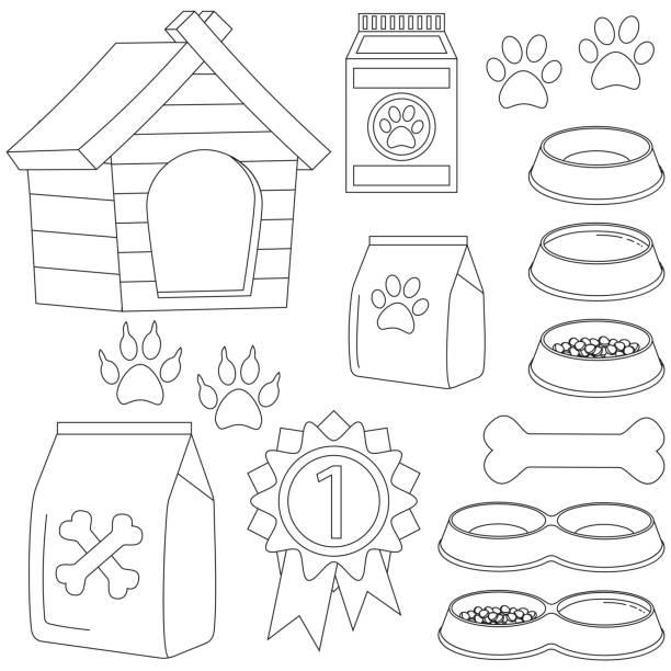 ilustrações de stock, clip art, desenhos animados e ícones de line art black and white pet care 13 icon set - dog food