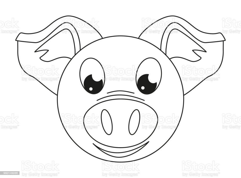 Pig Face Line Drawing : Lujo cara de cerdo para colorear colección ideas
