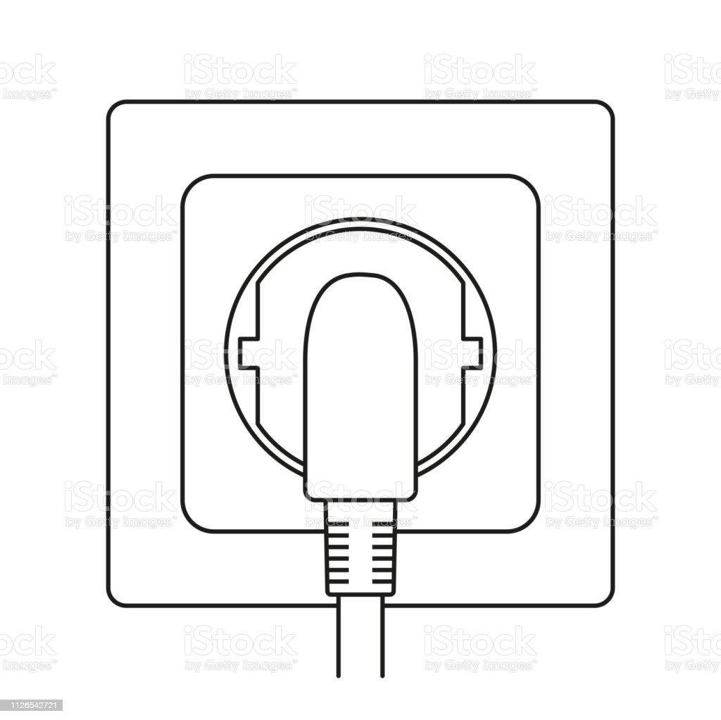 Line art black and white plug in electric socket vector art illustration