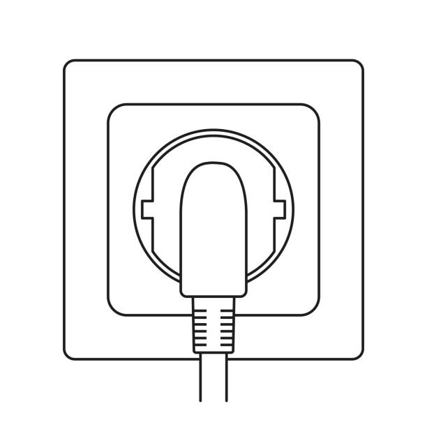 line art black and white plug in electric socket - electrical wiring home stock illustrations, clip art, cartoons, & icons