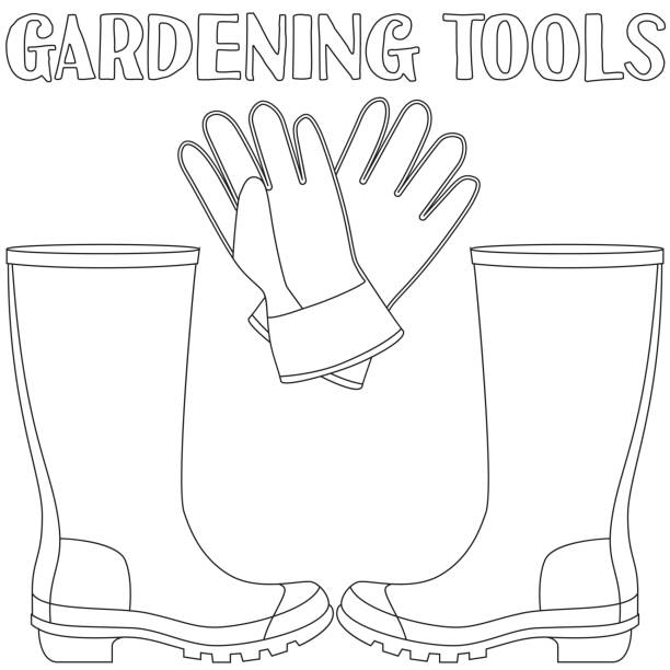 line art black and white protective clothing. - square foot garden stock illustrations, clip art, cartoons, & icons