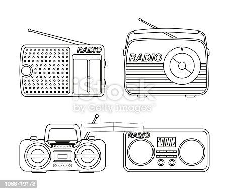 Line art black and white radio element set. Audio entertament retro device. Media theme vector illustration for icon, stamp, label, badge, certificate, leaflet, poster, brochure or banner decoration