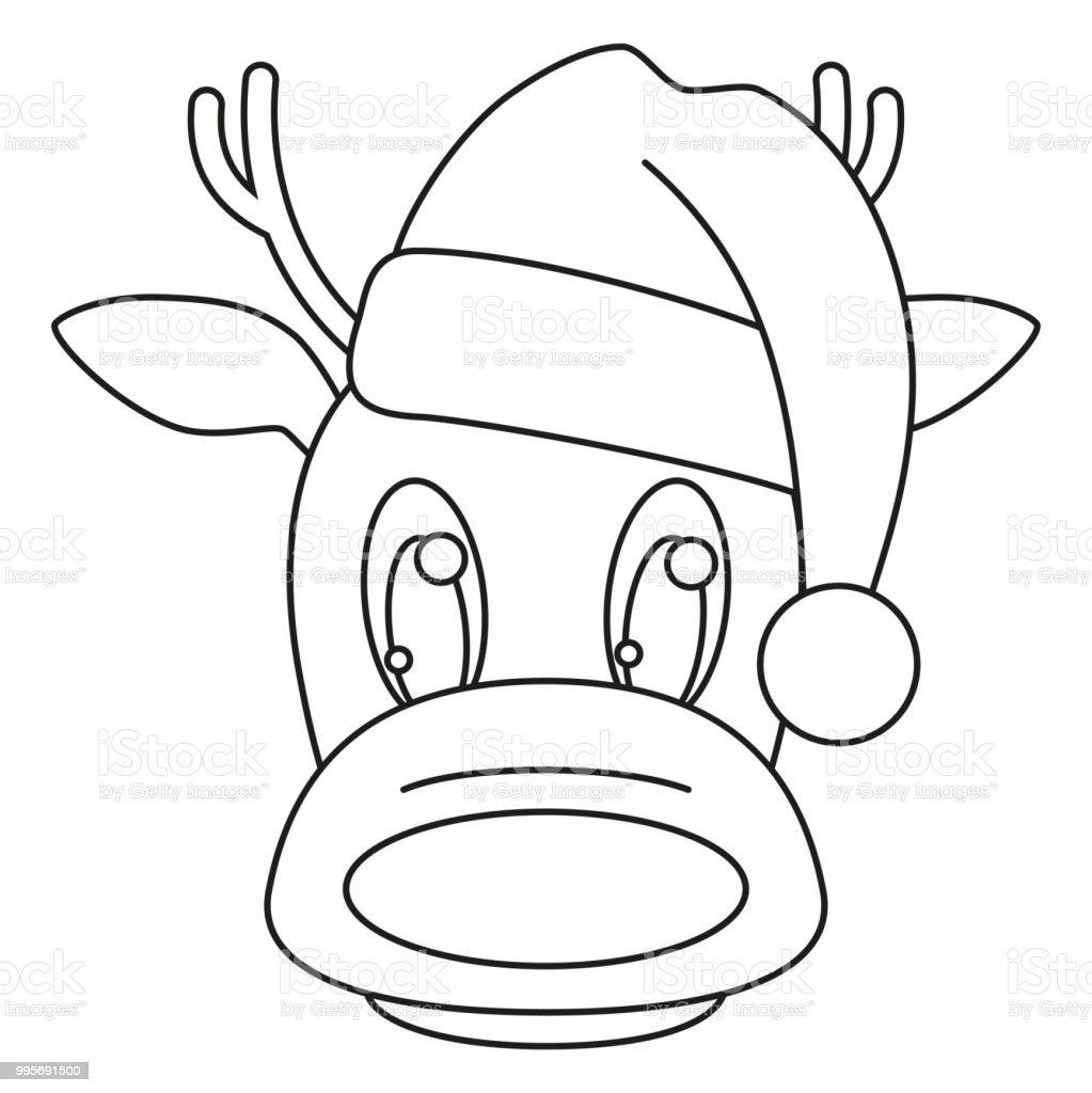 Línea arte de cabeza de Reno blanco y negro en el sombrero ilustración de línea  arte 851c5f46124