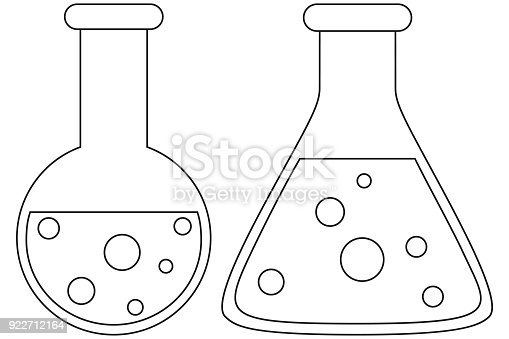 Line Art Black And White Science Test Tube Icon Set Stock