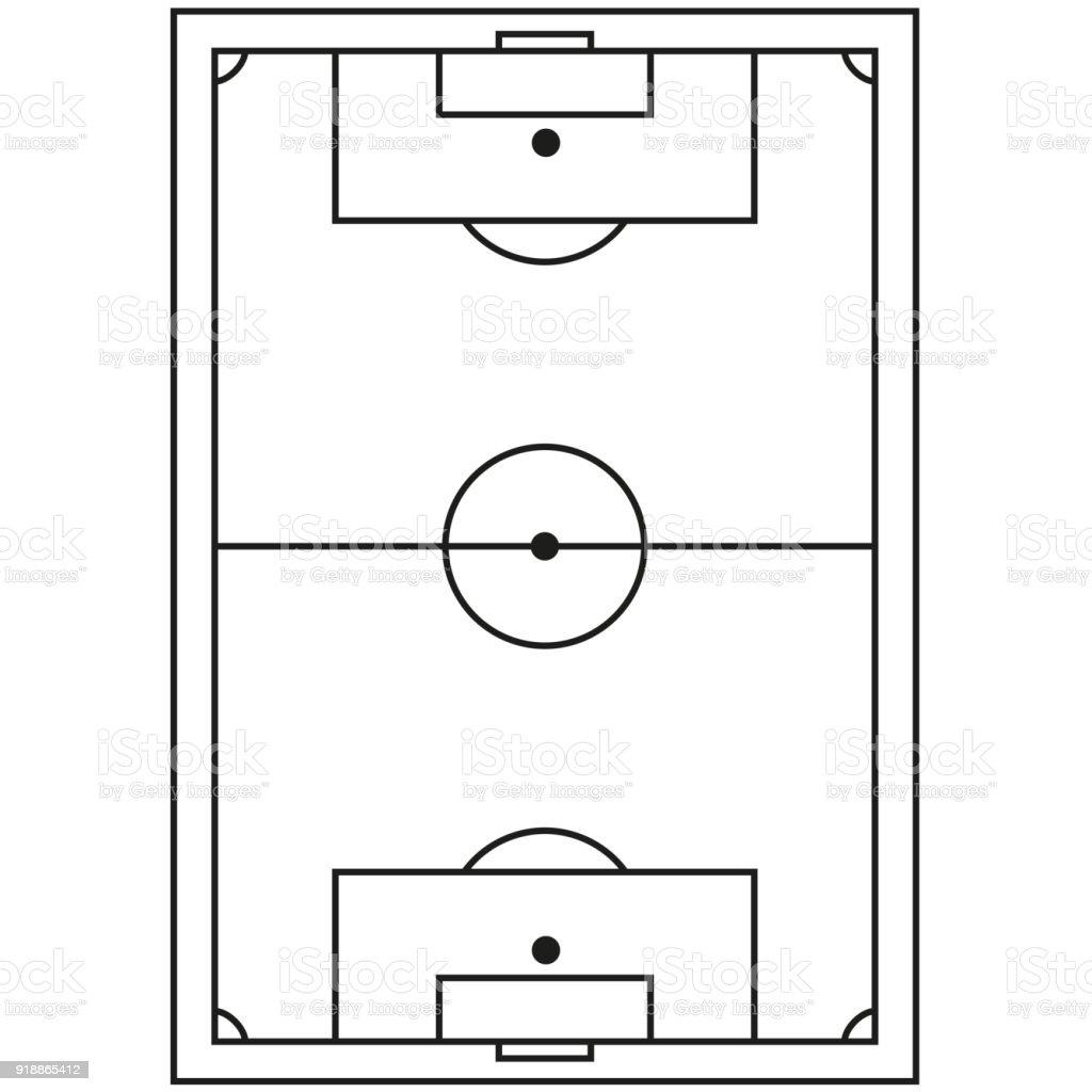 Icône de champ de ligne art football noir et blanc. - Illustration vectorielle