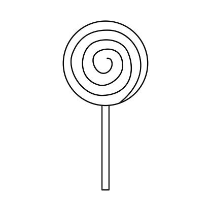 Line art black and white spiral lollipop