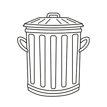 Line art black and white street trash can