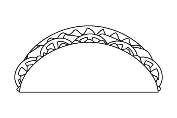 linie kunst schwarz-weiß taco - tortillas stock-grafiken, -clipart, -cartoons und -symbole