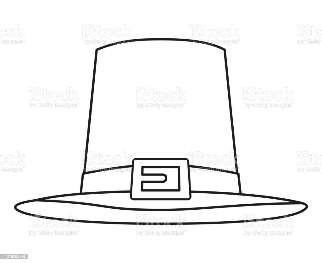 Line art black and white thanksgiving hat