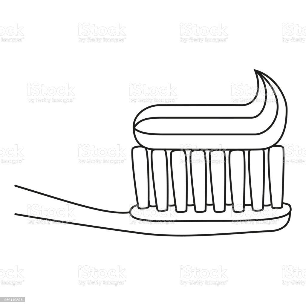 Hat Sanat Siyah Beyaz Diş Fırçası Diş Macunu Ile Stok Vektör Sanatı