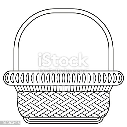 Line art black and white wicker basket shopping cart icon poster. Coloring book page for adults and kids. Vector illustration for gift card, flyer, certificate or banner, icon, icon, patch, sticker