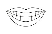 Line art black and white woman healthy smile