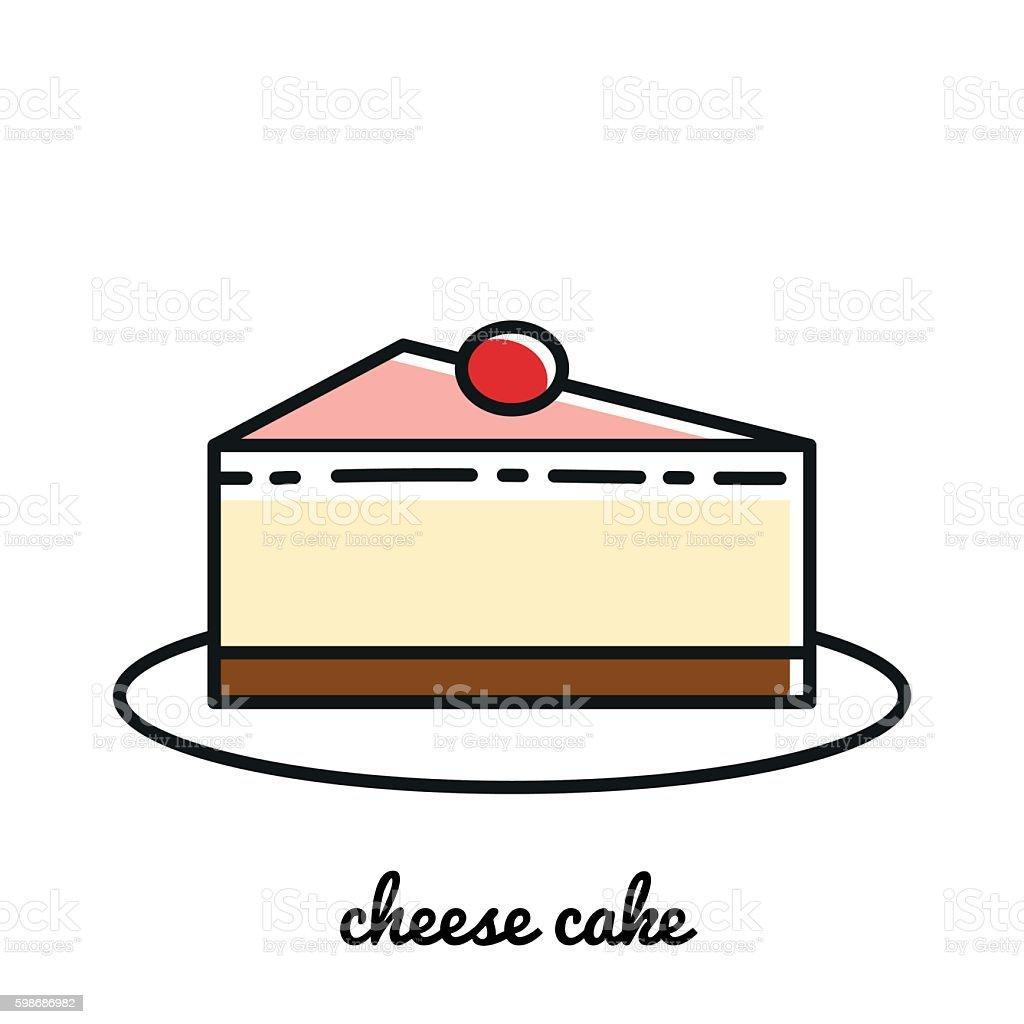 Line art cheese cake icon. Infographic elements векторная иллюстрация
