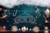 line art christmas sale shopping banner on blurred background
