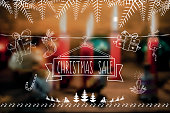 line art christmas sale shopping banner on blurred vibrant background