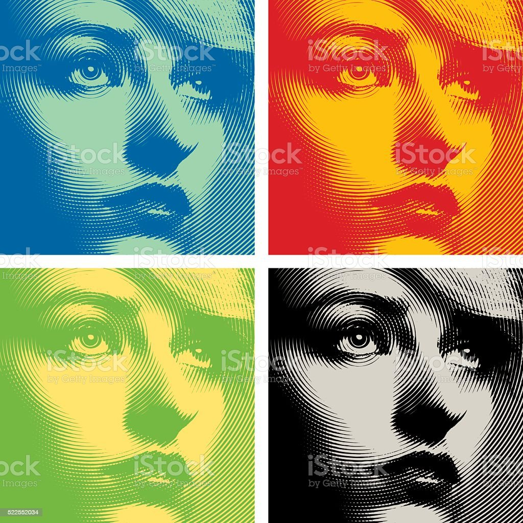 Line art Close up of a woman's face. Colorful set. vector art illustration