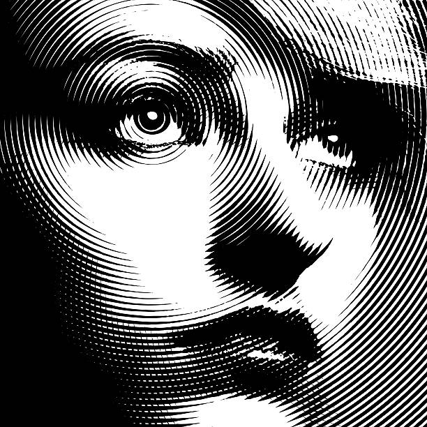 line art close up of a woman's face - close up stock illustrations, clip art, cartoons, & icons