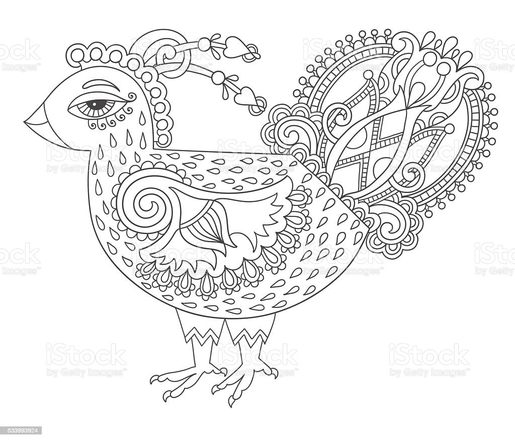 Coloring Adult Animal Bird Book Line Art Cock Drawing For Page Joy To Royalty Free Stock Vector